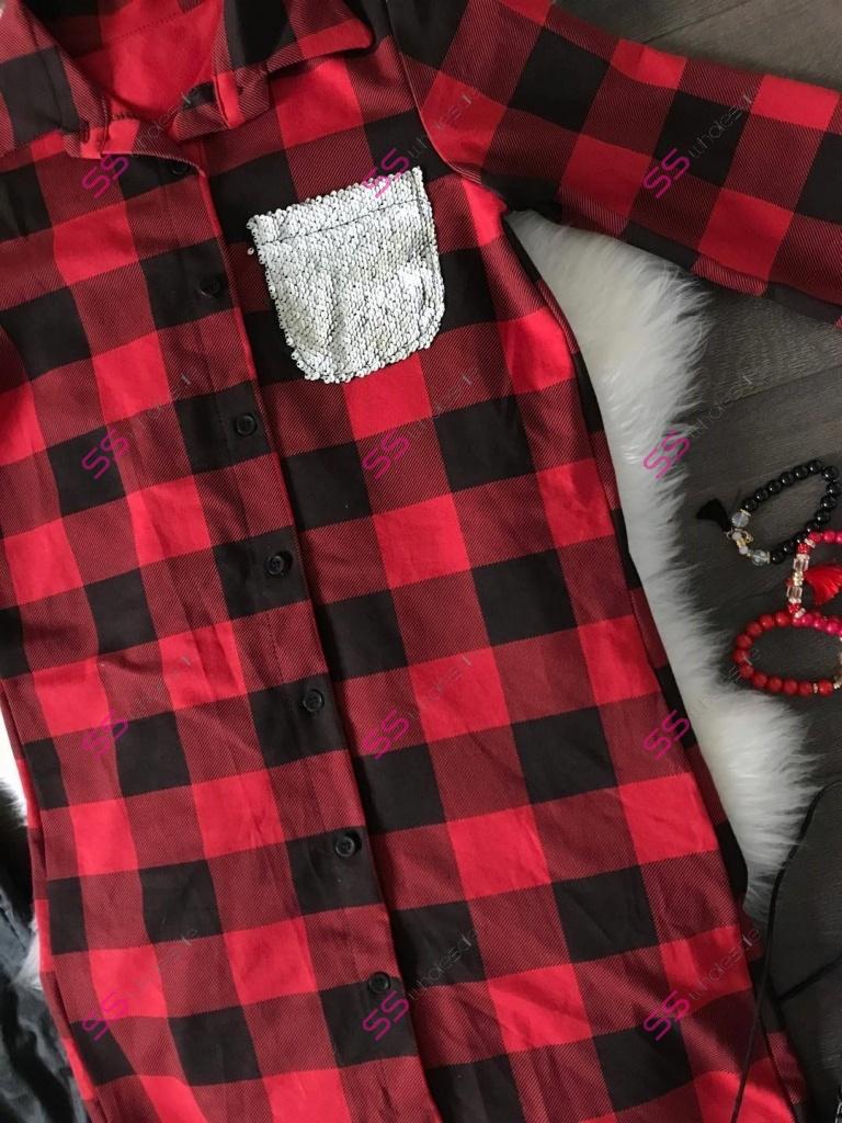 6135f1550ea2 Dámska predĺžená károvaná košeľa Tiffany