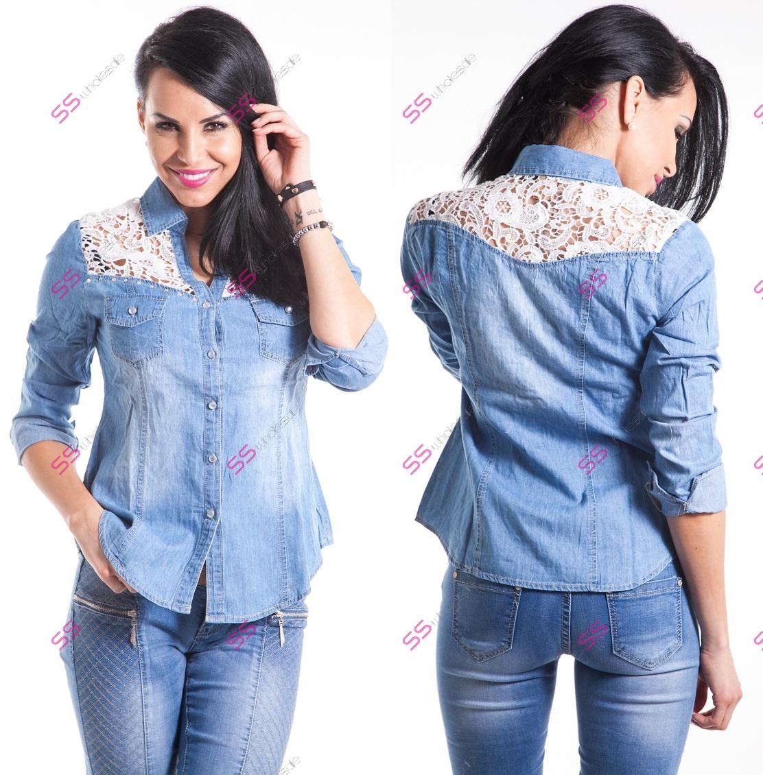 61920e1cd161 Riflová košeľa s čipkou