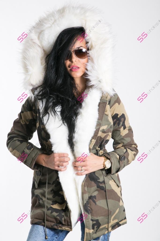 Maskáčová zimná bunda s extra hustou kožušinou+  26caf654889